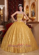 Perfect Gold Sequince Floor-length 2013 Quinceanera Ball Gown