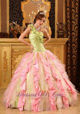 Hand Made Flower One Shoulder Layered Quinceanera Dress