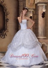 White and Silver Quinceanera Ball Gown Strapless for