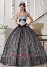 Black and Silver Special Fabric Quince Dress Winter