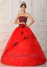 Strapless Black and Red A-line Embroidery Quinceanera Dress Boning
