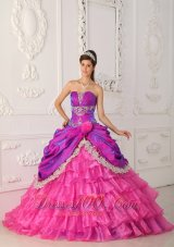 Hot Pink and Purple Quinceanera Dress Multi-tierd Quinceanera Dress