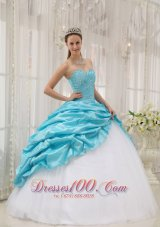 Sweetheart Aqua Blue and White Quinceanera Dress