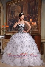 White and Zebra Quinceanera Dress Turn Heads Sweet 15 Dress
