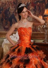 Sweetheart Orange and Black Quinceanera Dress Multi-tiered - US$224.19