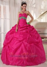Ball Gown Quinceanera Hot Pink Pick-ups Hand Made Flower