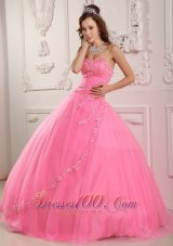 Rose Pink Sweet 16 Dress Embroidery Sweetheart