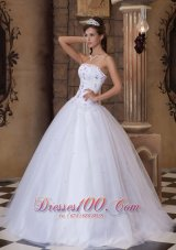 Romantic White Strapless A-line Beading Quinceanera Dress