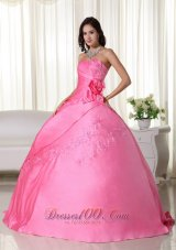 Pink Ball Gown Quinceanera Hand Made Flower Embroidery