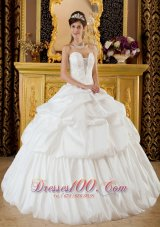 Quinceanera Dress Strapless Taffeta Beading White