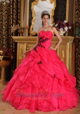 Coral Red Quinceanera Dress Sweetheart Organza Appliques