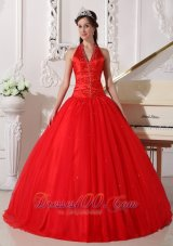 Red Halter Quinceanera Dress Tulle Beading Ball Gown