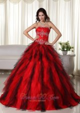Taffeta Appliques Red Strapless Dresses for A Quince