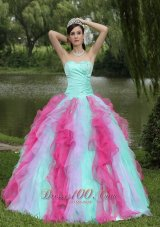Multi-color Organza Dress for Graduation With Ruffle Decorate
