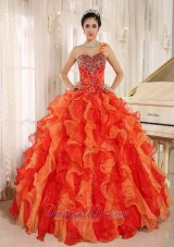 One Shoulder Red Beaded Decorate Ruffles Quinceanera Dress