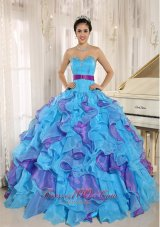 Multi-color Organza Quinceanera Dress Ruffles With Beading