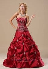 Red Pick-ups appliques prom quinceanera Dress