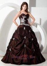 Taffeta Appliques Brown Ball Gown Sweetheart Quinceanera Dress