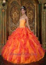 A-Line Orange Organza Quinceanera Dress Sweetheart Ruffles
