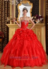 Cheap Red Dresses Of 15 Organza Appliques with Beading