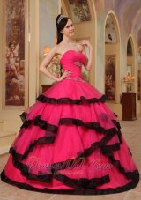 Coral Red and Black Quinces Dresses Strapless Organza Appliques