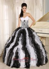 Multi-color organza Ruffles Quinceanera Dress With Appliques