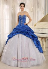 Blue and White Quinceanera Dress With Embroidery and Pick-ups