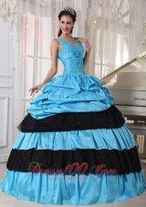 V-neck Light Blue and Black Quinceanera Dress Taffeta Beading