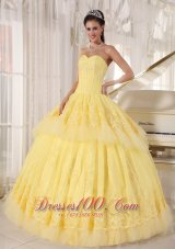 Organza Yellow Quinceanera Dress Beading and Appliques