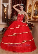 Satin and Tulle Beading Ball Gown Quinceanera Dress