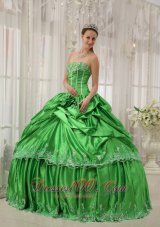 Taffeta Beading and Applique Green Quinceanera Dress Plus Size