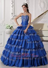 Plus Size Blue Ball Gown Taffeta Embroidery Quinceanera Dress