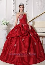 Wine Red Plus Size Beading Taffeta Quinceanera Dress