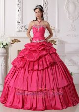 Detachable Hot Pink Quinces Dress Beading Pick-ups