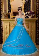 Blue Ball Gown Tulle Lace Appliques Quinceanera Dress