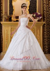 Appliques White Sweet 16 Dress Tafftea and Tulle