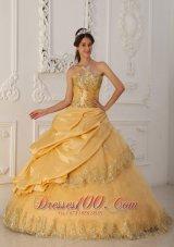 A-Line Beaded Gold Quinceanera Dress Taffeta and Organza
