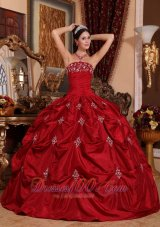 Appliques and Pick-Ups Wine Red Quinceanera Dress Taffeta