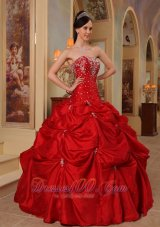Red Beading and Embroidery Quinceanera Dress Taffeta