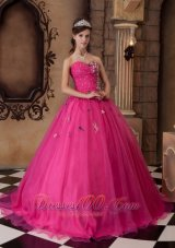 Hot Pink A-line Quinceanera Dress Organza With Beading