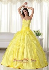 Yellow Ball Gown Organza Embroidery Dresses for 15