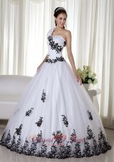 Ball Gown White One Shoulder Embroidery Dresses for 15