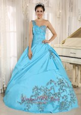 One Shoulder Baby Blue Quinceanera Dress Appliques and Beading