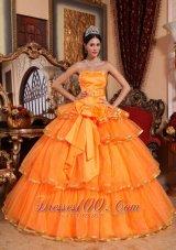 Orange Quinceanera Dress Ruffles Organza Bow 2013