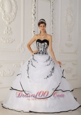 White Quinceanera Dress Black Embroidery Beading