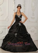 Pretty Black Halter Pick-ups Taffeta Sweet 16 Dress