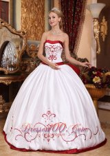 White and Red Embroidery Sash Sweet 15 Dress