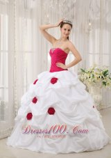 Hot Pink and White Hand Made Flower Quinceanera Dress