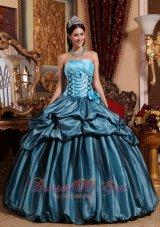 Blue Hand Made Flower Taffeta Quinceanera Dress Pick-ups