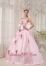 Pink Taffeta Quinceanera Dress Appliques Floor-length